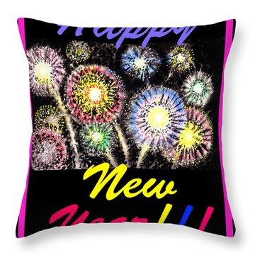 Happy New Year Throw Pillow by Irina Sztukowski