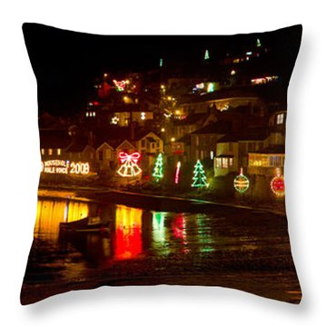 Happy New Year Mousehole Christmas Lights Throw Pillow