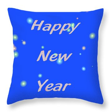 Throw Pillow featuring the digital art Happy New Year  by Rosalie Scanlon