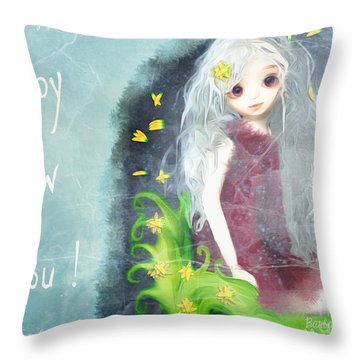 Throw Pillow featuring the digital art Happy New You by Barbara Orenya