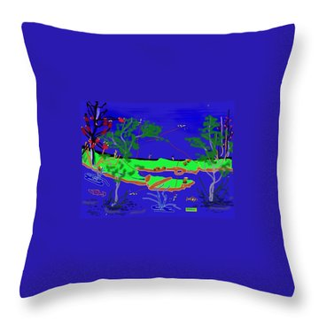 Happy Peninsula Digital Painting Throw Pillow by Colette Dumont