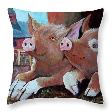 Happy Pigs Throw Pillow by Dona Davis