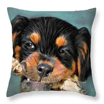Happy Puppy Throw Pillow by Angela A Stanton
