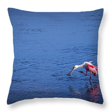 Happy Spoonbill Throw Pillow