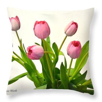 Throw Pillow featuring the digital art Happy Spring Pink Tulips 2 by Jeannie Rhode