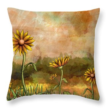 Happy Sunflowers Throw Pillow by Bedros Awak
