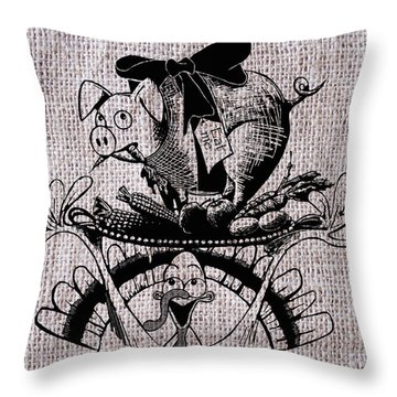 Happy Thanksgiving - Natural Throw Pillow
