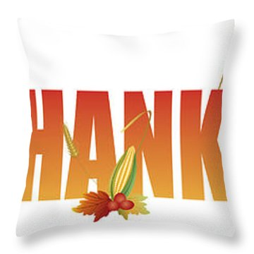 Happy Thanksgiving Text With Fruits And Vegetable Illustration Throw Pillow by Jit Lim