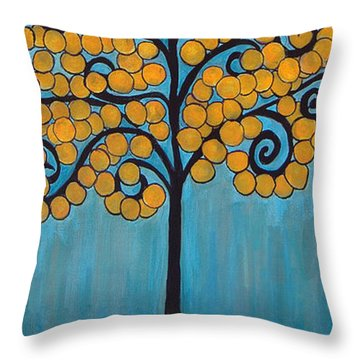 Happy Tree In Blue And Gold Throw Pillow