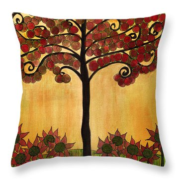Happy Tree In Red Throw Pillow