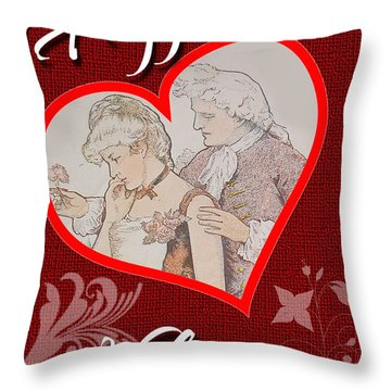 Throw Pillow featuring the digital art Happy Valentine Card by Charlie Roman