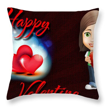Throw Pillow featuring the digital art Happy Valentine by Charlie Roman