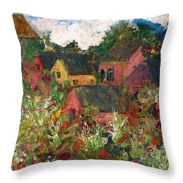 Happy Village Throw Pillow by Deborah Montana