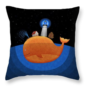 Happy Whale House Throw Pillow by Gianfranco Weiss