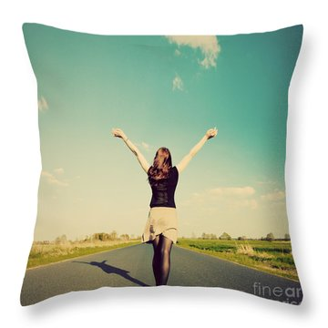 Happy Woman Standing On Empty Road Retro Vintage Style Throw Pillow by Michal Bednarek