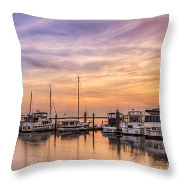Harbor At Jekyll Island Throw Pillow by Debra and Dave Vanderlaan