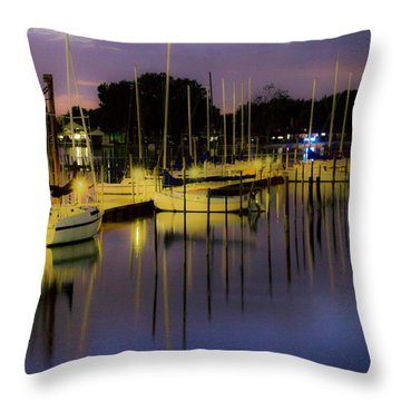 Harbor At Night Throw Pillow