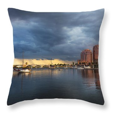 Harbor At West Palm Beach Throw Pillow