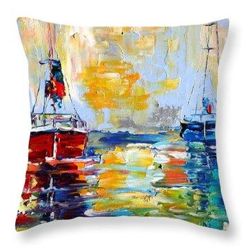 Harbor Boats At Sunrise Throw Pillow by Karen Tarlton