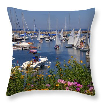 Throw Pillow featuring the photograph Harbor In Bloom by Caroline Stella