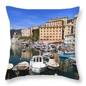 harbor in Camogli - Italy Throw Pillow