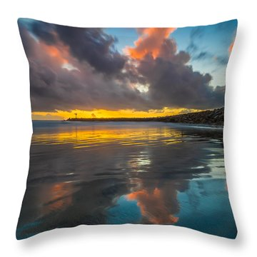 Harbor Jetty Reflections Throw Pillow