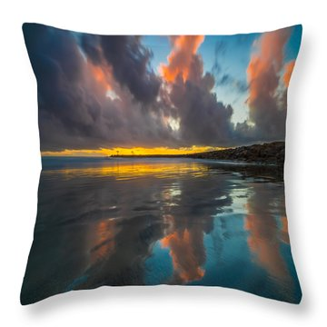 Harbor Jetty Reflections Square Throw Pillow