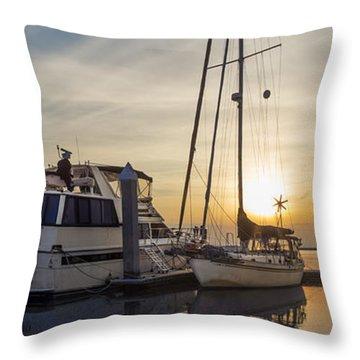 Harbor Light Throw Pillow by Debra and Dave Vanderlaan