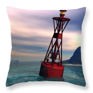 Harbor Light Throw Pillow by John Pangia