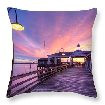 Harbor Lights Throw Pillow by Debra and Dave Vanderlaan