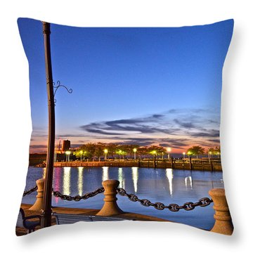 Harbor Lights Throw Pillow by Frozen in Time Fine Art Photography
