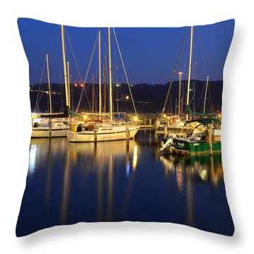 Harbor Nights Throw Pillow by Frozen in Time Fine Art Photography