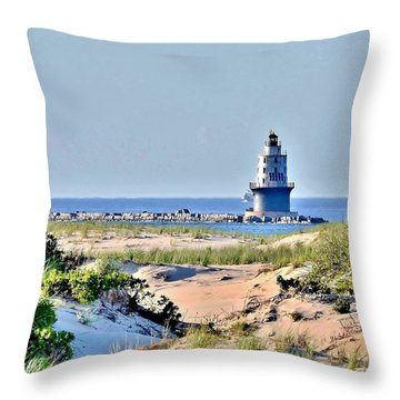 Harbor Of Refuge Lighthouse Throw Pillow
