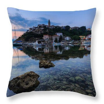 Harbor Reflection Throw Pillow by Davorin Mance