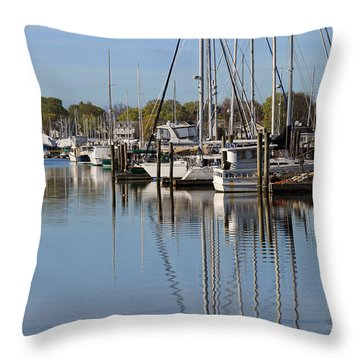 Harbor Reflections Throw Pillow by Karol Livote