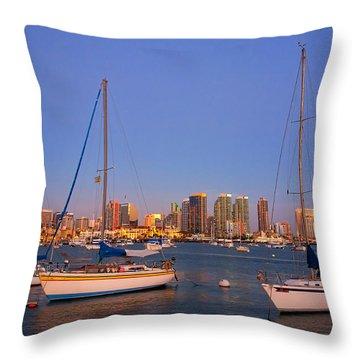 Harbor Sailboats Throw Pillow