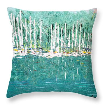 Harbor Shores Throw Pillow by George Riney