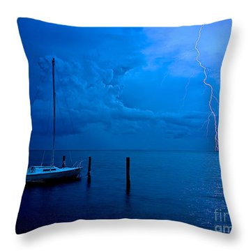 Harbor Storm Throw Pillow by Mark Miller