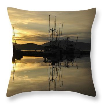 Throw Pillow featuring the photograph Harbor Sunset by Cathy Mahnke