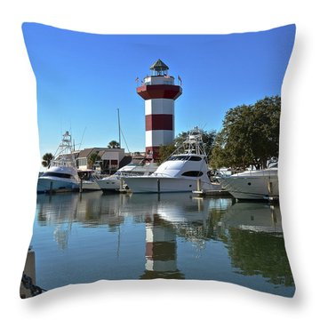 Harbor Town Lighthouse Throw Pillow by Carol  Bradley