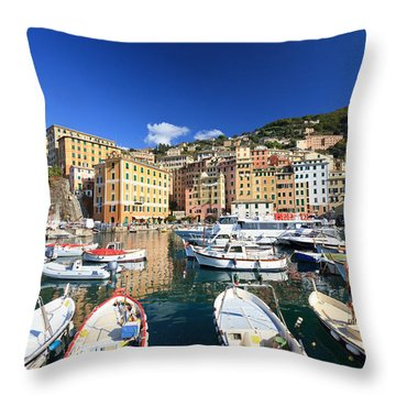 Throw Pillow featuring the photograph Harbor With Fishing Boats by Antonio Scarpi