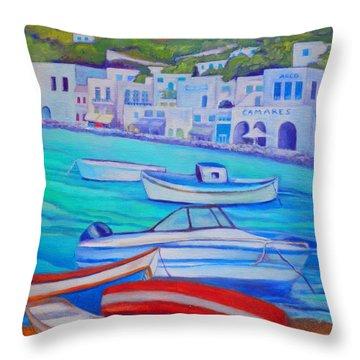 Harborfront Mykonos Throw Pillow