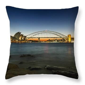 Harbour Night Throw Pillow by Andrew Paranavitana