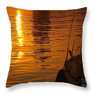 Throw Pillow featuring the photograph Harbour Sunset by Clare Bevan