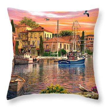 Harbour Sunset Throw Pillow by Dominic Davison