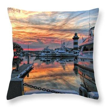 Harbour Town Yacht Basin Throw Pillow