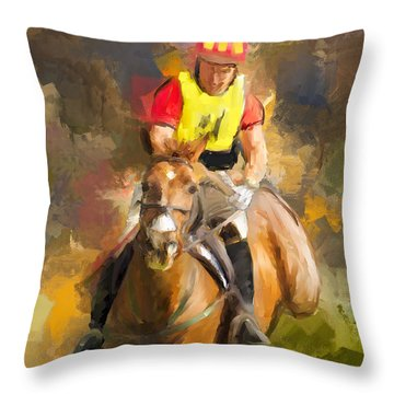 Throw Pillow featuring the painting Hard Left by Joan Davis