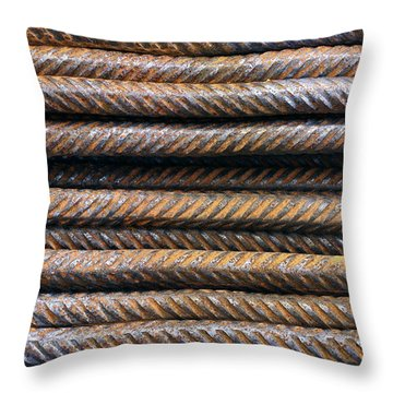 Hard Metal Rebar Pattern Throw Pillow