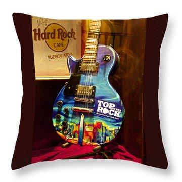 Hard Rock Electric Guitar Throw Pillow
