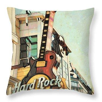 Hard Rock Guitar Throw Pillow